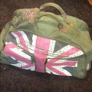 Victoria secret pink duffel bag on wheels